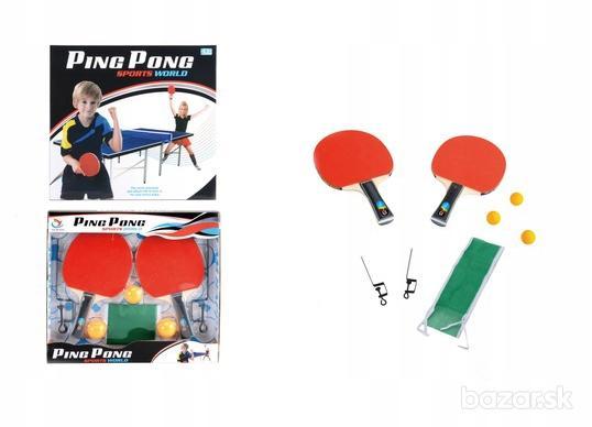 Ping-Pong zostava: rakety 2x, sieťka, loptičky 3x